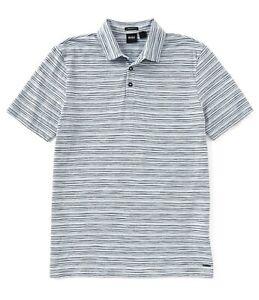 Hugo Boss Men's Short Sleeve Press Stripe Polo Shirt Regular Fit Pastel Blue XL