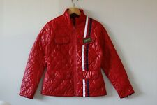 Womens Red Quilted  Barbour International Jacket With Striped Detail | Size 12