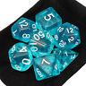 7 Piece Polyhedral Set Cloud Drop Translucent Teal RPG DnD With Dice Bag