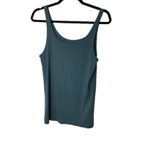 Eileen Fisher Tank Top Womens Large Teal Blue Scoop Neck Camisole Cotton