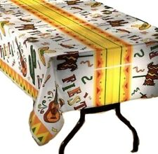 Fiesta Time Party  table cover tablecloth plastic 54 x 108 (2 pieces)