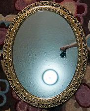 Italian Rococo Style Oval Carved Pierced Gilt Wood Wall Mirror Floral Design