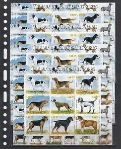 Rare Dogs Animals 2000 Congo  MNH 9 v M/s № 2 perf  X 10 Wholesale lot