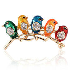 Rhinestone Collar Clip Animal Brooches Gf Enamel Five Birds Brooch Pin Crystal