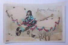 Neujahr, Flugzeug, Kinder, Blumen  1910 ♥ (58443)