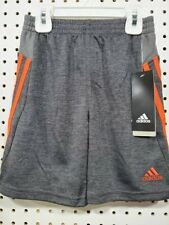 Boys Kids Youth Adidas Climalite Gray Orange Embroidered Shorts NEW Size 5