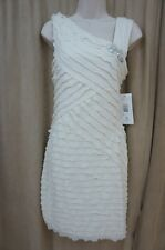 Signature By Robbie Bee Dress Sz M Ivory Embellished Tiered Cocktail