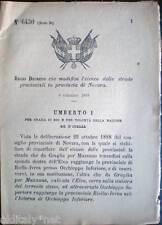 ✅1889/6430 Regio Decreto che modifica elenco delle strade in provincia di NOVARA