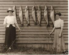 Vintage Ladies Fishing Lake Trout Old Time Women Huge Fish Stringer Munising MI