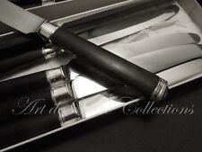 Christofle GUISE 6 Dessert Knives EBONY Handles Couteaux à Dessert Manches Ebène