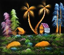 "Painting On Velvet Cloth Beautiful Hut in a Jungle 19""X16"" Best Price"