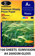 100 SHEETS OF PREMIUM GLOSSY GLOSS A4 PHOTO PAPER 200GSM SUMVISION INKJET PAPER