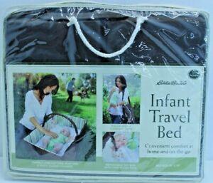 """Eddie Bauer Infant Travel Bed/Changer 19"""" x 30"""" w/Toy Bar, Compact, Storage, SW"""