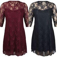 Lace 3/4 Sleeve Dresses Midi
