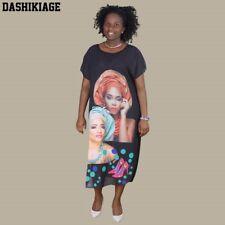African Style Chiffon Summer Casual Loose Face Print Beach Dress Women Clothing