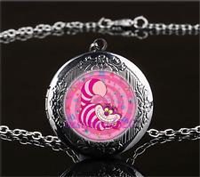 Pink Cheshire Cat Photo Glass Gun Black Chain Locket Pendant Necklace