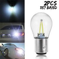 White 2x 1157 BA15D 12V COB LED Car Reverse Backup Tail Brake Light Lamps Bulbs