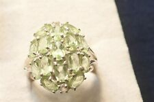 PERIDOT ESTATE STERLING SILVER GEM STONE CLUSTER BIG CHUNKY RING