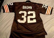 CLEVELAND BROWNS NFL JIM BROWN #32 PRO LINE NFL VINTAGE BRWN/WHI HOME JERSEY NWT