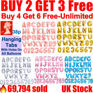"""Gold Silver Rose 16"""" A-Z Letter Balloons Number Foil Balloon NAME PARTY WEDDING"""