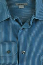 Johnston & Murphy Men's Indigo & Gray Pin Striped Casual Shirt L Large
