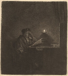 Rembrandt Etching Reproductions: Student at Table by Candlelight: Fine Art Print