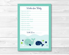 Little Blue Whale Nautical Printable Baby Shower Wishes for Baby Advice Cards