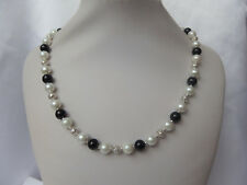 White and Black Pearl and Silver Filigree Bead Necklace