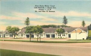 Bend Oregon Pilot Butte Motor Court roadside Postcard Tichnor linen 21-3524