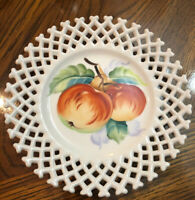 Vintage Lefton China Hand Painted Peaches Reticulated Plate/Candy Dish
