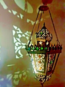 Vintage,large  brass Metal Glass Arabic Moroccan Islamic chandelier  Height:46cm