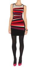 KAREN MILLEN Sleeveless Multi Colour Stripe Bodycon Mini Dress Size 1/AU 8