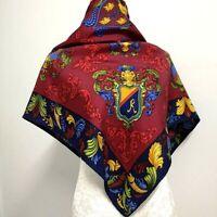 "Roberta di Camerino Square Scarf Women Sangria Badge Vintage Humroll Silk34"""