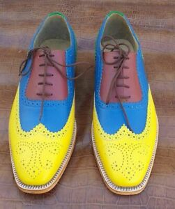 Men Handmade Multi color Leather Brogue Shoes with Lace up Closure, Party Shoes