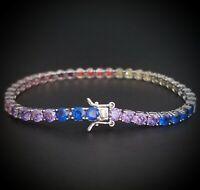 14k White Gold Sterling Silver Round Blue Sapphire & Multi Gem Tennis Bracelet