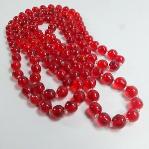 Fab Antique Art Deco Long Red Glass Necklace Glass Bead Flapper Necklace 1920's