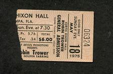 1975 Robin Trower Golden Earring Concert Ticket Stub Tampa FL For Earth Below