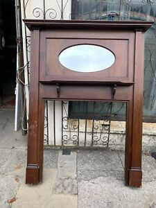 A Edwardian Mahogany Fireplace Surround With Mirror