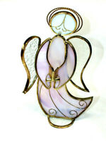 "Stained Glass Singing Angel Sun Catcher Ornament 10"" tall Pink Wings Book Big"