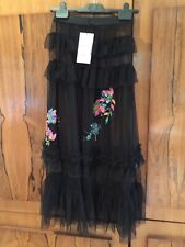 Zara Black Floral Embroidery Sequin Tulle Frilled Skirt, Size XS- BNWT