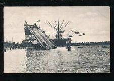 Lancs Lancashire SOUTHPORT fair Water chute Flying Machine PPC 1905