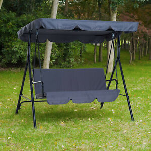 3-Seater Outdoor Swing Chair Cushioned Garden Lounger Hammock w/ Frame and