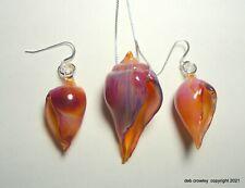 deb crowley lampwork Boro glass & Sterling Fig seashell pendant & earrings set