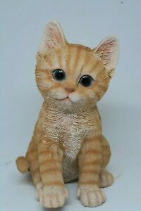 Large Ginger Cat Sitting Kitten Statue ornament Figurine Home Decor
