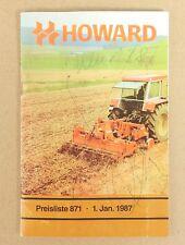 Howard Preiliste 871 Programm Bodenbearbeitung Jan. 1987  Original