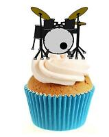 Novelty Drum Kit 12 Edible Stand Up wafer paper cake toppers birthday music