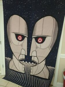 Sunshine Joy Pink Floyd Robot Tapestry Blue New OOP 90x60in Handmade India