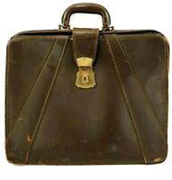 Leather Pilot Flight Attache Briefcase Bag 30's 40's? Spy Case Vintage Satchel