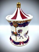 """A Teleflora Gift Musical Merry Go Round Ceramic Multi Color White Jar 5.5"""" Tall"""
