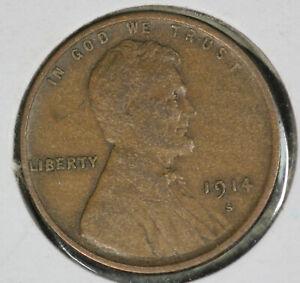 Nice Original Problem-Free 1914-S Lincoln Wheat Cent!!